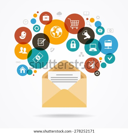 The concept of electronic mail. Marketing design. Modern design  envelope surrounded by colored glass of icons. The file is saved in the version AI10 EPS. This image contains transparency. - stock vector
