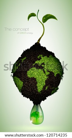 the concept of green energy on the planet - stock vector