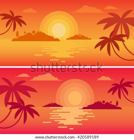 The concept of happy calm traveling to the lonely ocean islands. Beautiful colorful sunset or sunrise in the sea, surrounded by tropical palms. Vector illustration and art.