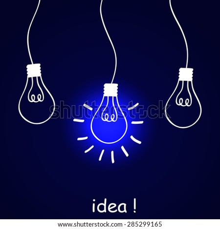 The concept of idea. Background with hand-drawing light bulbs. Vector illustration. - stock vector