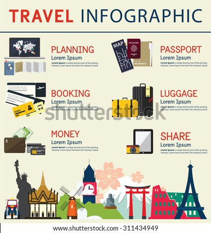 The concept of infographics for travel planning. Infographic  element. Vector Illustration - stock vector