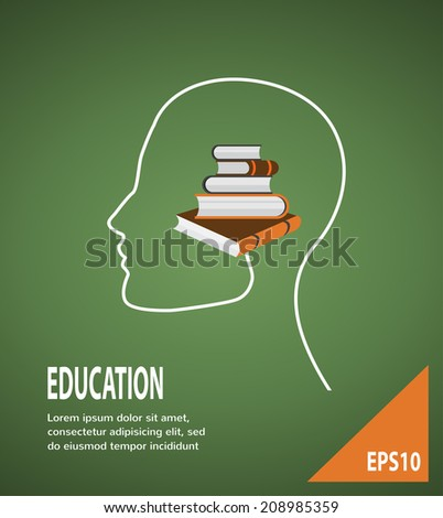 The concept of modern education. Infographic Template with profile head, with lightbulb and books  - stock vector