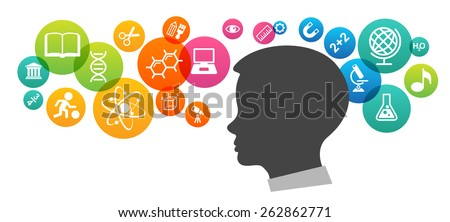The concept of modern education.  Template with silhouette of the baby's head surrounded by science and education icons in brightly colored circled. The generation of knowledge. - stock vector