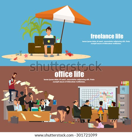 """the concept of office life and the life of freelancing. banners """"office work"""" and """"freelance"""". vector illustration. - stock vector"""