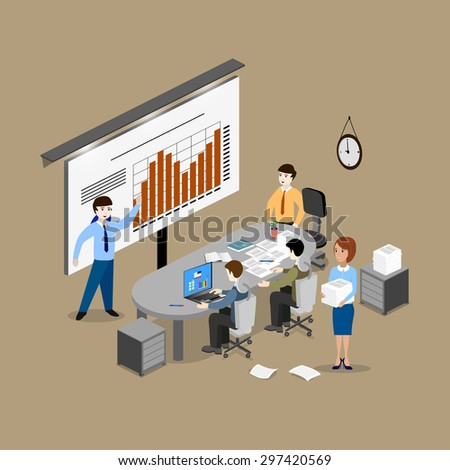 The concept of office work, teamwork, brainstorming, meeting, exchange of ideas, problem-solving. Izometniya view from the top. - stock vector