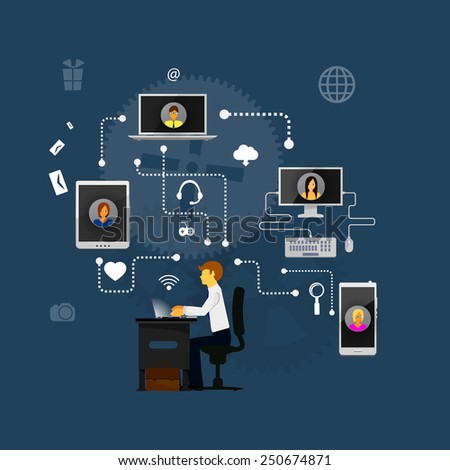 The concept of social network background with people and icons. - stock vector