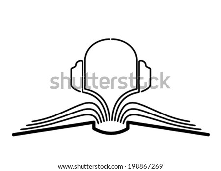 The concept of the book pages and headphones. - stock vector