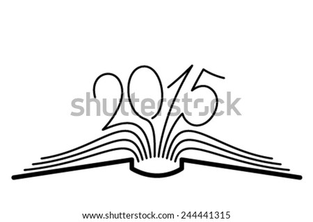 The concept of the book pages and 2015 year. - stock vector