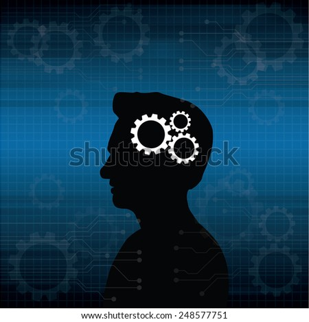 the concept of the functioning of the human body and the brain - stock vector