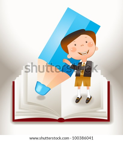 the concept of the learning process of children. File is saved in AI10 EPS version. This illustration contains a transparency - stock vector