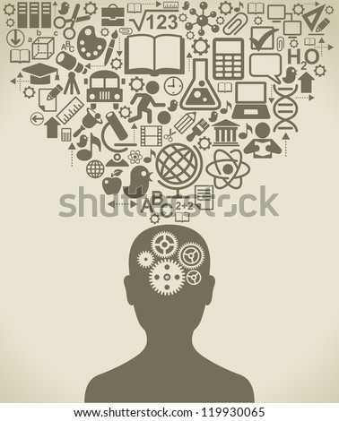 the concept of the learning process of people - stock vector