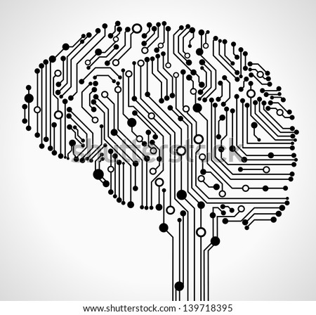 The concept of thinking. Background with abstract human brain. - stock vector