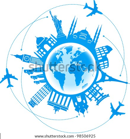 the concept of traveling around the world. Famous international landmarks - stock vector