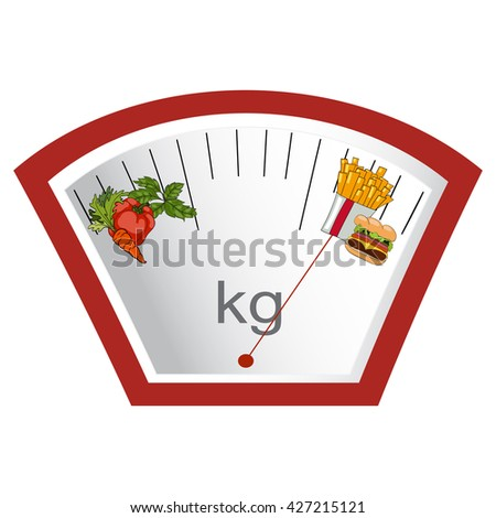 The concept of weight loss, healthy and unhealthy food. Arrow weights on vegetables or fast food.  Choose. Vector. Hand drawn - stock vector