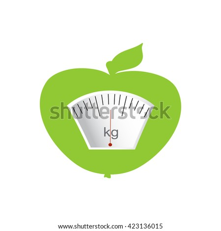 The concept of weight loss, healthy lifestyles, diet, proper nutrition. Fruit and scales. Vector