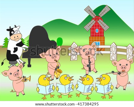 The concert at the farm of the domestic animal. - stock vector