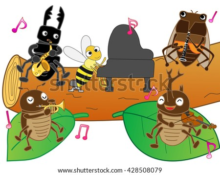 The concert of summer insects. - stock vector