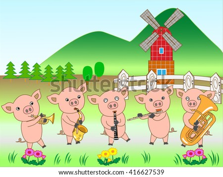 The concert of the piglet at the farm. - stock vector