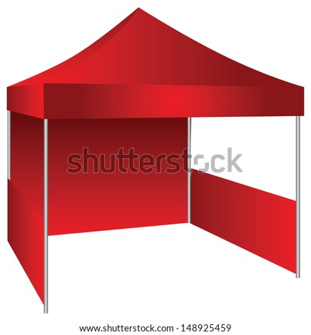 The concession stand in the form of a canopy with possible use as an exhibition canopy. Vector illustration.