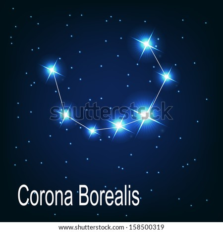 "The constellation ""Corona Borealis"" star in the night sky. Vector illustration"