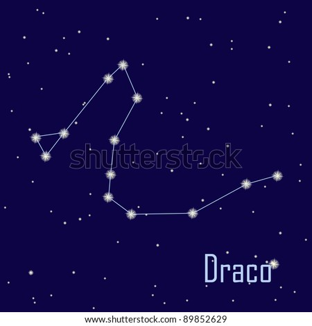 "The constellation ""Draco"" star in the night sky. Vector illustration"