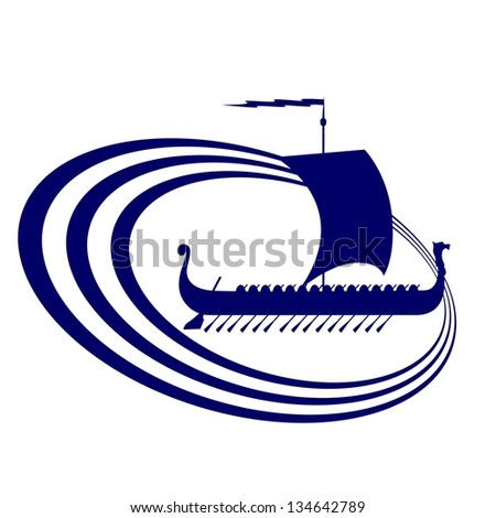 The contour of the ancient sailing ship. Illustration on white background. - stock vector