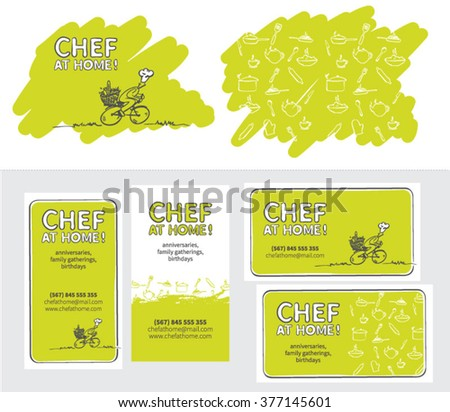 The cook in the house. Chef at home. Logo. Card. Pattern.
