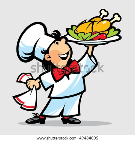 The cook with the chicken - stock vector