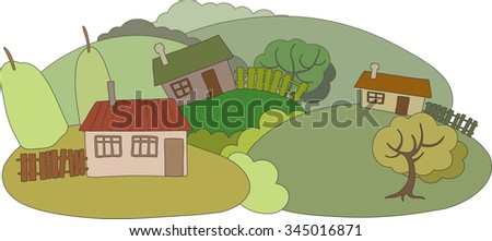 The countryside. Houses and Gardens. Colored illustration.  - stock vector
