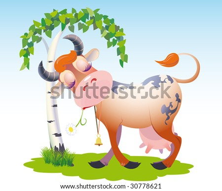 The cow dreams and scratches horns about a birch. vector. illustration - stock vector
