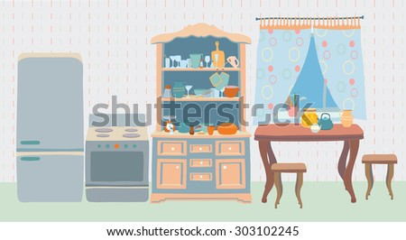 The cozy old kitchen with table, stools, window, fridge, stove, cupboards with a lot of kitchen utensils. Editable Vector illustration. - stock vector