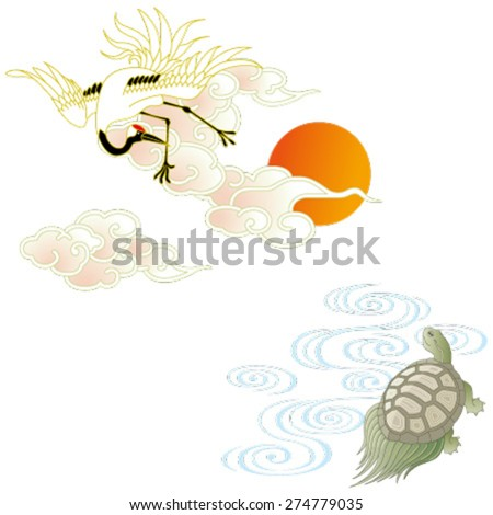 The crane and the turtle, isolated on white background. - stock vector