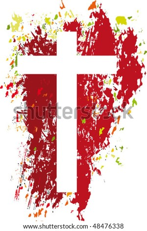 The cross is empty. The blood is breaking down a darkness and is turning into a life. - stock vector