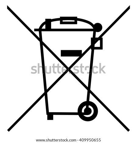The Crossed Out Wheelie Bin Symbol , Waste Electrical and Electronic Equipment  recycling sign , vector illustration - stock vector