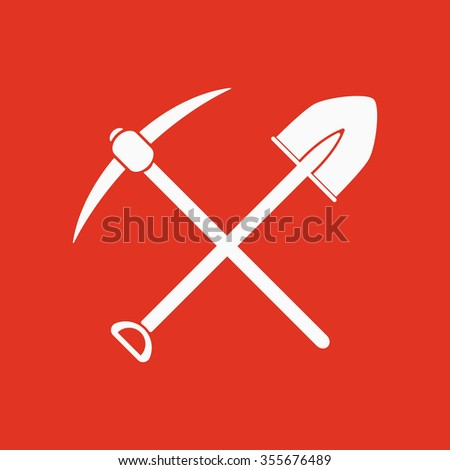 The crossing spade pickax icon. Pickax and excavation, digging, mining symbol. Flat Vector illustration - stock vector