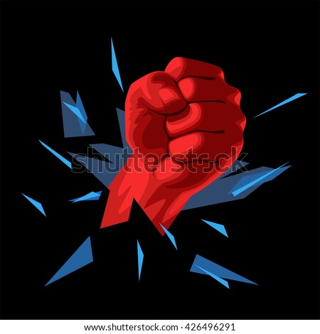 The crushing blow of his fist through the wall - stock vector