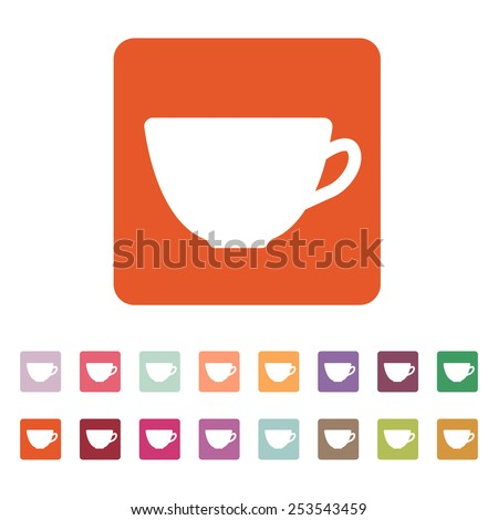 The cup icon. Tea symbol. Flat Vector illustration. Button Set