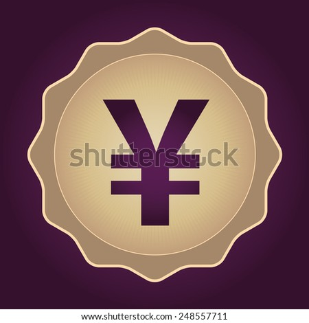 The currency sign of Japanese Yuan, Yen Badge, Label or Sticker