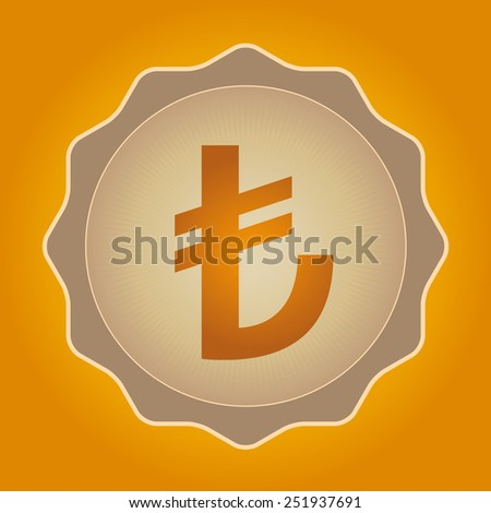 The currency sign of Turkish lira Badge, Label or Sticker, Yellow Background