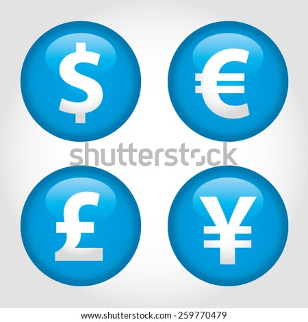 The currency signs of Dollar, Euro, Pound and Yen. Cyan Badge, Label or Sticker on the white background. - stock vector
