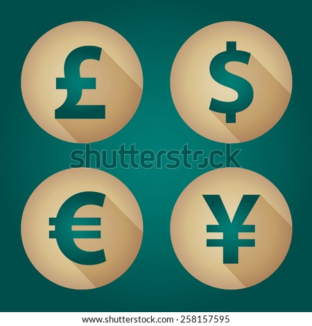 The currency signs of Dollar, Euro, Pound and Yen. Gold Badge, Label or Sticker on the green background.