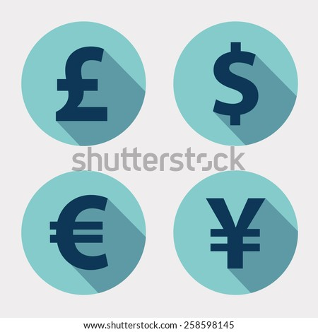 The currency signs of Dollar, Euro, Pound and Yen. Turquoise Badge, Label or Sticker on the white background.