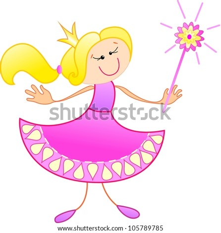 The cute princess looks at something interesting - stock vector