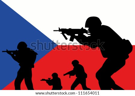 The Czech Republic flag and the silhouette of a soldier with Red Arm Band