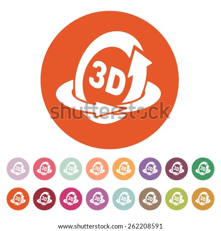 The 3d icon. Rotation arrow symbol. Flat Vector illustration. Button Set - stock vector
