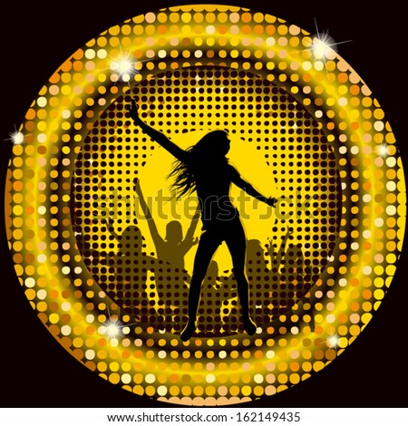 The dancing girl in a disco  in a gold circle - stock vector