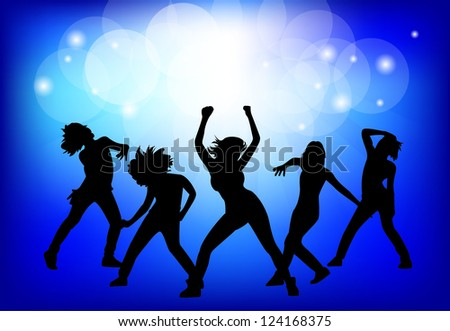 The dancing girl on blue background. Vector illustration. - stock vector