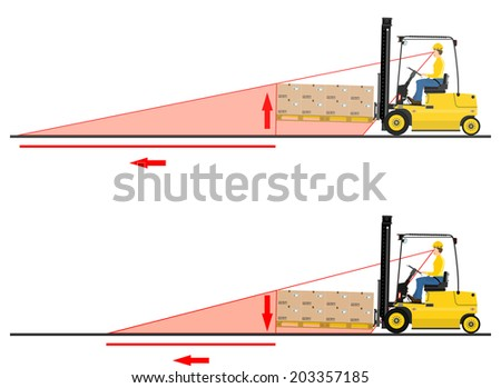 The dangers of driving a forklift truck. Vector  - stock vector