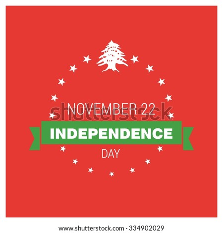 The Day of Lebanon, Vector Lebanese Independence Day Celebrating 22nd November. Celebration Card. Star Ribbon badge with typography. Illustration