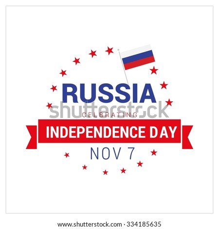 The Day of Russia, Vector Russian Independence Day Celebrating 7 November Celebration Card. Star ribbon badge.  Illustration - stock vector